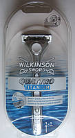 Бритва Wilkinson Sword Quattro Titanium + подставка, из Германии, фото 1
