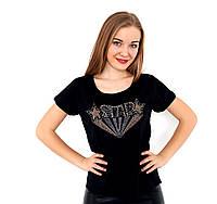 Женская футболка с бисером и стразами