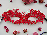 Кружевная маска Мотылек красный