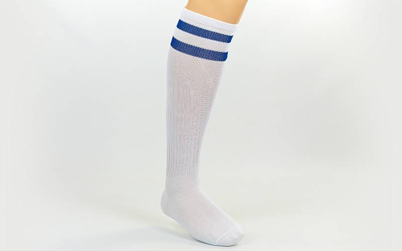 Гетры футбольные взрослые белые с синей полосой CO-3257-WB