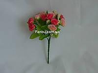 Искусственный букет розы флорибунда (цвет малиново-розовый)
