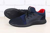Мужские кроссовки, черные, из натуральной кожи, с текстильными вставками черного цвета, с замшевыми вставками