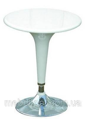 Стол барный высокий Панама, барный круглый столик, белый, 60х70-90 см, PanWh