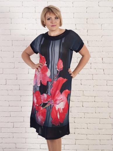"""Платье большого размера """"Маки"""""""