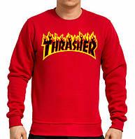 "Свитшот |принт ""Thrasher Magazine"" огненный| Кофта"