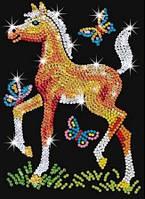 Детская мозаика из блесток Жеребенок
