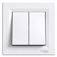 Выключатель двухклавишный Asfora белый EPH0300121