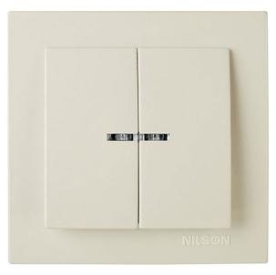 NILSON TOURAN Выключатель двухклавишный с подсветкой кремовый