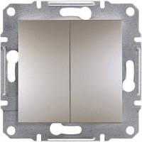 Выключатель двухклавишный проходной Asfora бронза, EPH0600169