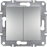 Выключатель двухклавишный проходной Asfora алюминий, EPH0600161