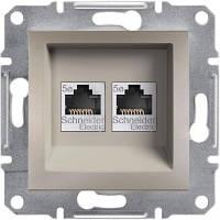 Розетка телефонная двойная, RJ11 Asfora бронза, EPH4200169