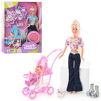 Кукла DEFA 20958 (24шт) с дочкой, собачка, щенки 2шт,коляска,аксессуары,3 вида, кор-ке,34-25,5-6,5см