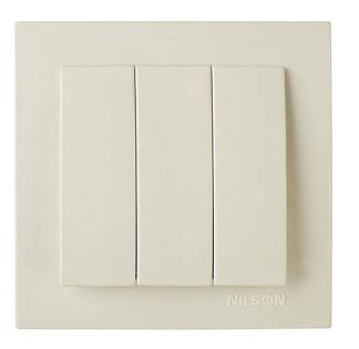 NILSON TOURAN Выключатель трехклавишный кремовый