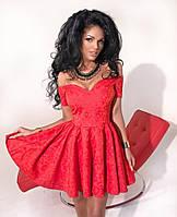 Женское платье нарядное норма приталенное с расклешенным низом и открытыми плечами 143 ДП