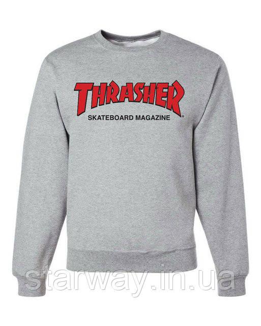 Свитшот серый с красным принтом Thrasher magazine | Кофта