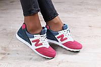 Женские кроссовки, замшевые, на шнурках, на белой подошве, розовые с синими вставками