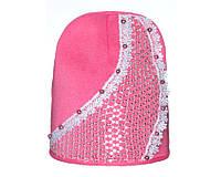 Детский модний демисезонный комплект шапка и снуд для девочки Розовый, 49-56