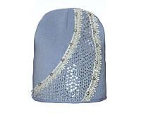 Детский модний демисезонный комплект шапка и снуд для девочки Голубой, 49-56