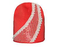 Детский модний демисезонный комплект шапка и снуд для девочки Красный, 49-56