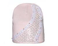Детский модний демисезонный комплект шапка и снуд для девочки Нежно-розовый, 49-56