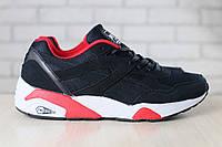 Мужские кроссовки, замшевые, черные бордовые, с текстильными и кожаными вставками, на шнурках
