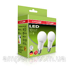"""Промо-набор EUROLAMP LED Лампа A60 10W E27 4000K акция """"1 + 1"""""""