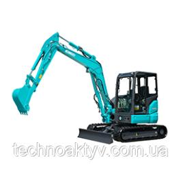 SK55SRX-6 Транспортный вес 4,900 кг - 5,020 кг Мощность двигателя 28,3 кВт / 2400 мин-1 (ISO9249) Объем ковша 0,16 м3