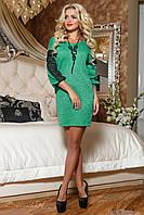 Женское зеленое платье-туника из ангоры 2075 Seventeen 42-48 размеры