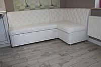 Кухонный уголок белого цвета со спальным местом и ящиком для хранения под заказ