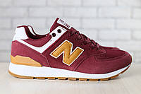 Мужские кроссовки NB, бордовые, из натуральной замши, с кожаными вставками коричневого цвета, на шнурках