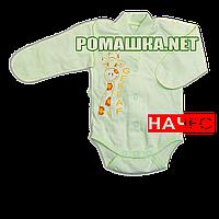 Детский боди с длинным закрытым рукавом р. 56 с начесом ткань ФУТЕР (байка) 100% хлопок ТМ Алекс 3188 Зеленый4