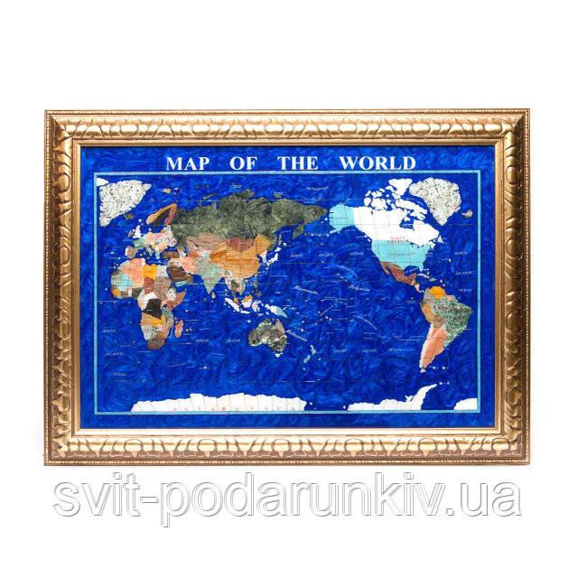 Сувенирная карта мира из полудрагоценных камней в золотистой раме 870*630 мм