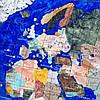Сувенирная карта мира из полудрагоценных камней в золотистой раме 870*630 мм, фото 3