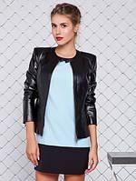 Женская Куртка с эко-кожи на замшевой основе черная р.42