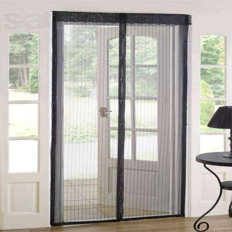 Москитная сетка на магнитах дверная черная ширина 100 см. х 210 см.