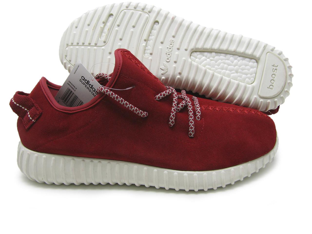 Кроссовки мужские Adidas YEEZY BOOST 350 Замш красный