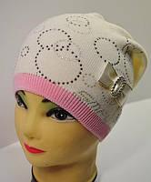 Вязаная шапочка для девочки на флисе - Da1606