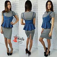 Платье облегающее со съемной джинсовой баской разные цвета SMf1227, фото 1