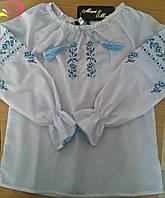 Детская, подростковая вышиванка на девочку, 122 - 146 см. Рубашка с вышивкой с длинным рукавом