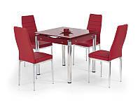Стол обеденный стеклянный KENT красный Halmar