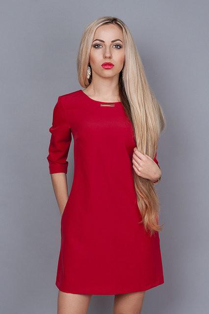d1fe0ab4fee Классическое красное платье прямого покроя