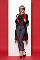 Черный кардиган с красным воротником