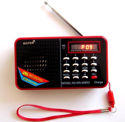 Портативная мини колонка SPS WS 958  радиоприемник ФМ