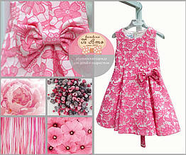 Нарядное платье, набивные розовые цветы,сбоку бант, итальянский бренд Alice Pi, 98см