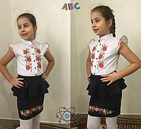 Блузка с вышивкой для девочки, 122-140 см. Детская, подростковая блуза вышиванка с коротким рукавом