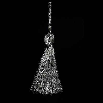 Кисточка подвеска из метал нити-серебро 15 см, фото 2
