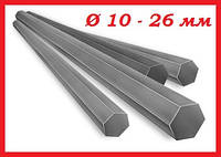 Шестигранник стальной г/к диаметром от 10 до 26 мм