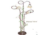 Торшер кованный с листками на 3 лампы