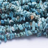 Бусины Синтет Бирюза крошка 5~12х4~8мм, Голубой (85см/нить) УТ0011371)