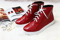 Высокие кеды на шнурках и молнии красные